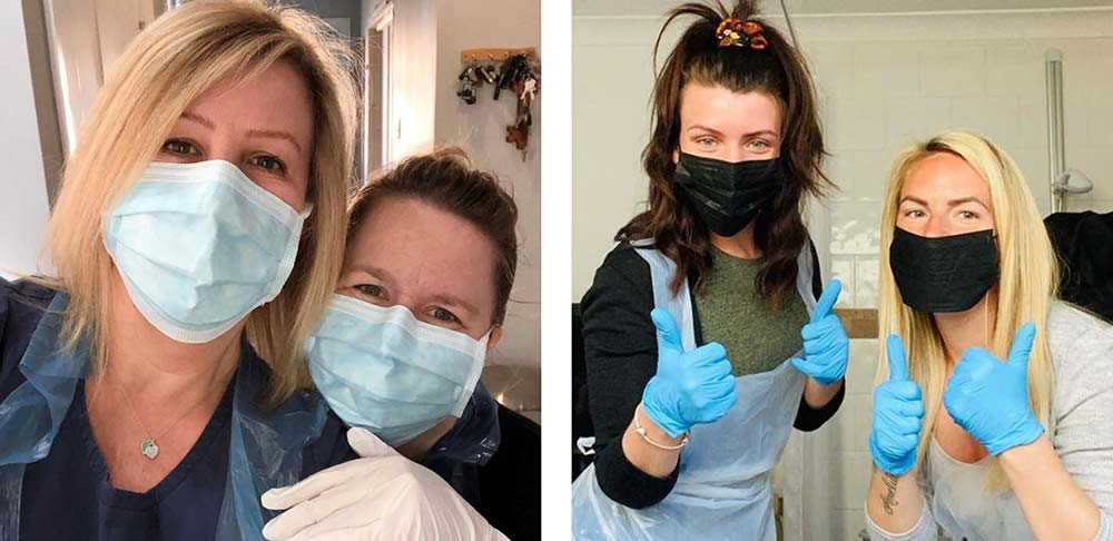 A BIG thank you to our nurses: Happy HASCS staff wearing their PPE masks